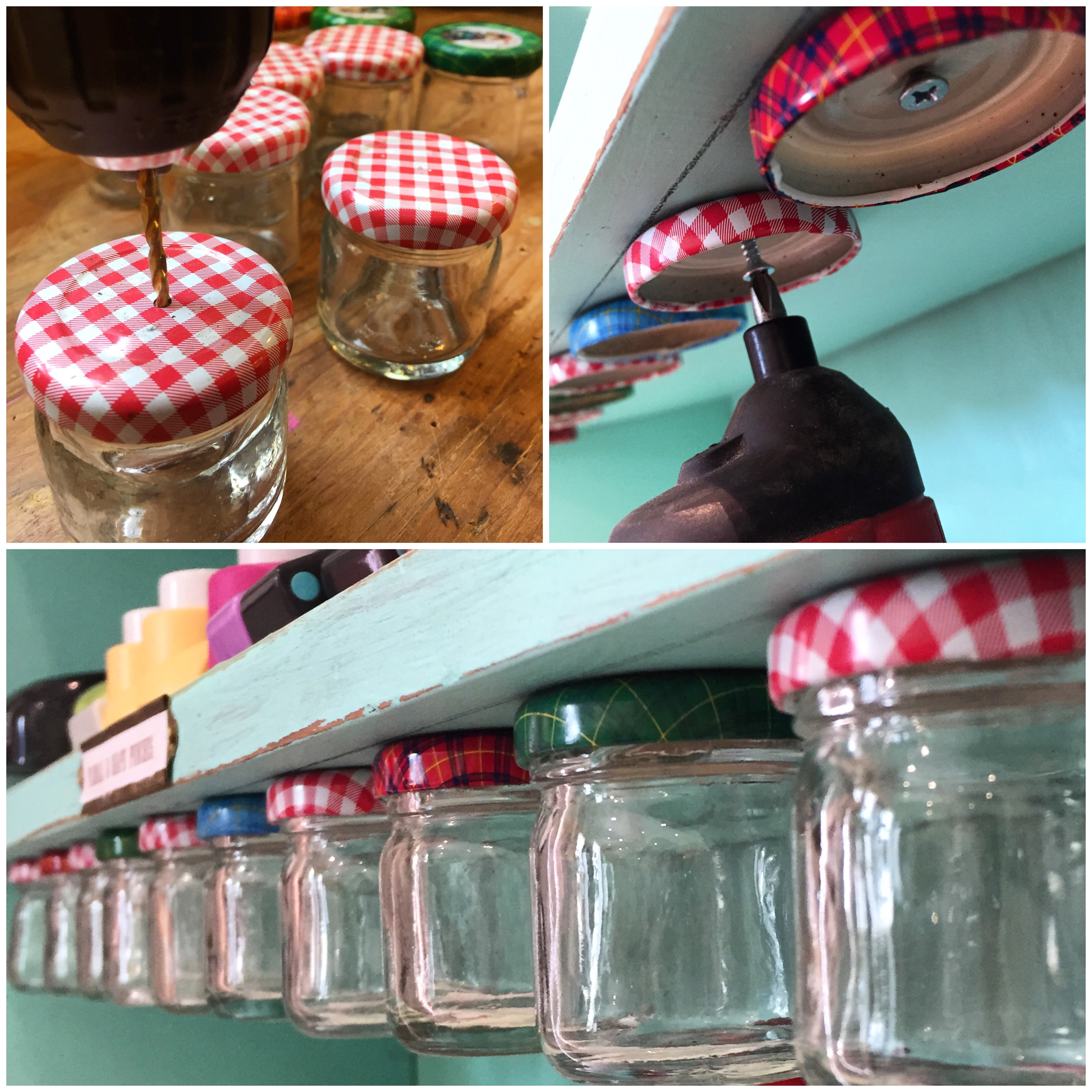 Attaching shelf jars and free dennison style labels - Cortinas colgantes ...