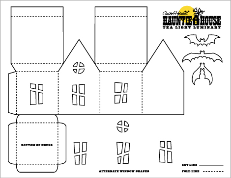3D Paper House Patterns http://justsomethingimade.com/2011/08/haunted-house-luminary-party-treat-box-templates/