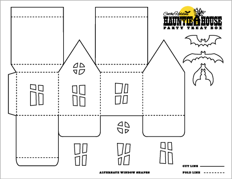 halloween crafts: haunted house luminary & party treat box templates ...