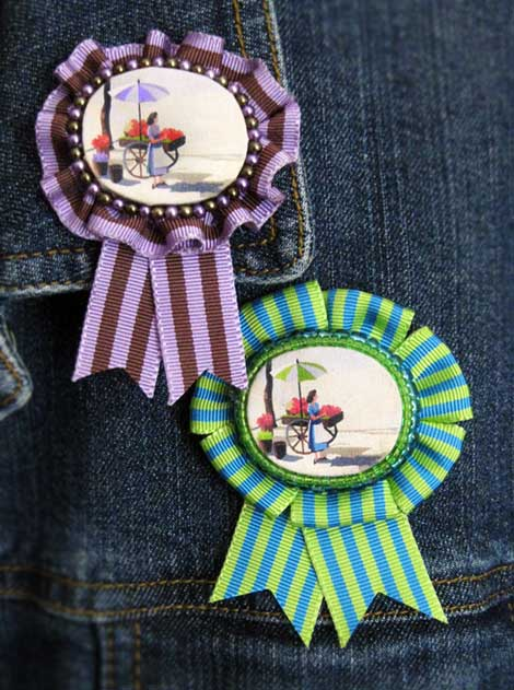 Prize Ribbon Rosette Image Brooches   Cathe Holden's