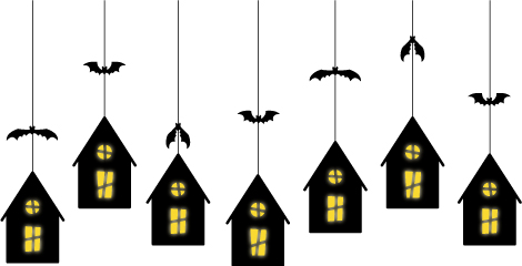 halloween crafts: haunted house luminary & party treat box templates